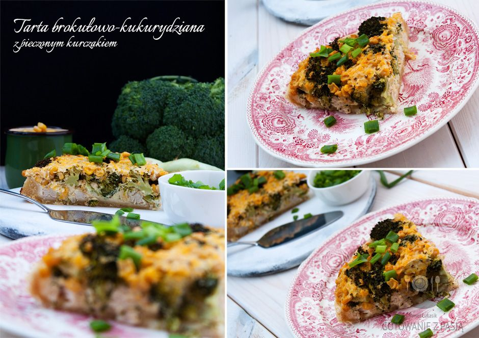 Tarta brokułowo-kukurydziana z pieczonym kurczakiem