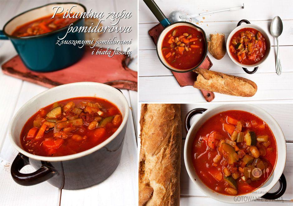 Pikantna zupa pomidorowa z suszonymi pomidorami i białą fasolą