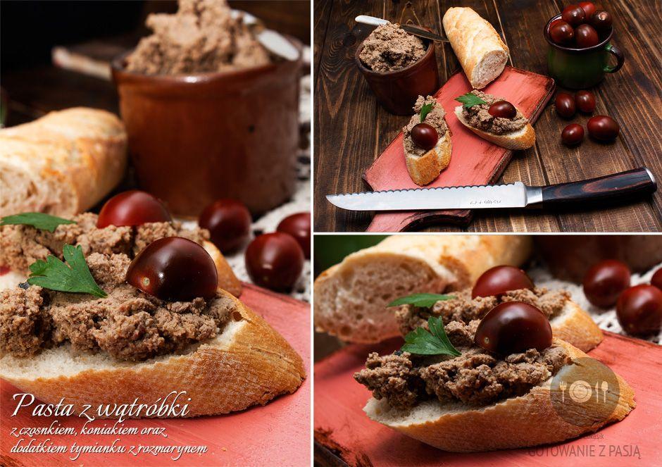Pasta z wątróbki z czosnkiem i koniakiem oraz dodatkiem tymianku z  rozmarynem