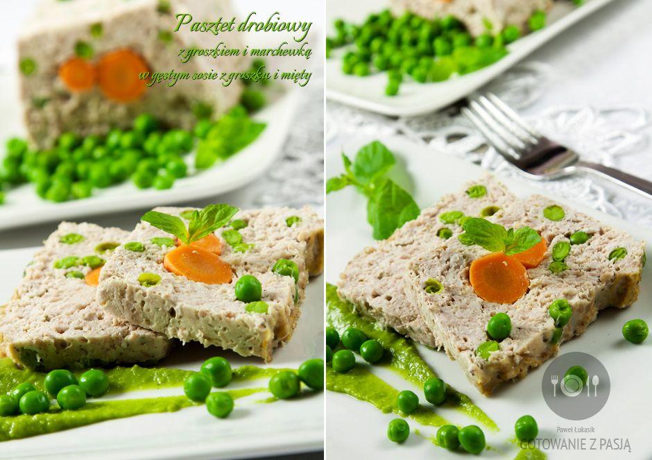 Pasztet drobiowy z groszkiem i marchewką w gęstym sosie z groszku i mięty