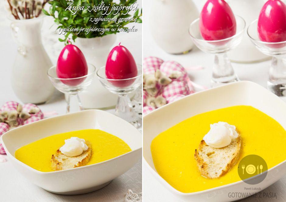 Zupa z żółtej papryki z zapieczoną grzanką i jajkiem przepiórczym w  koszulce