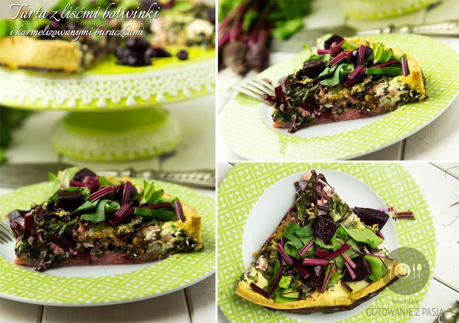 Tarta z liśćmi botwinki  i karmelizowanymi buraczkami