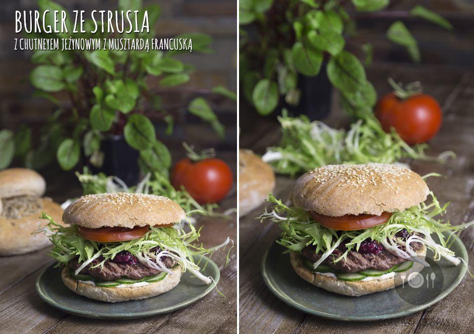 Burger ze strusia z chutneyem jeżynowym z musztardą francuską