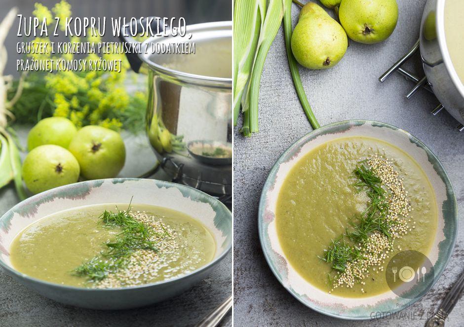 Zupa z kopru włoskiego, gruszek i korzenia pietruszki z dodatkiem prażonej komosy ryżowej