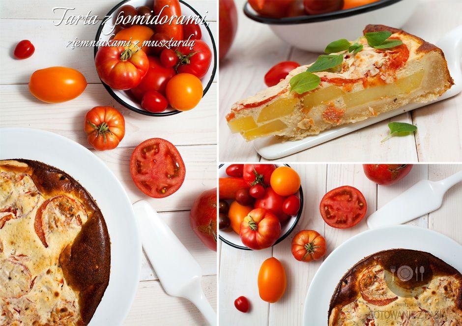 Tarta z pomidorami, ziemniakami z musztardą