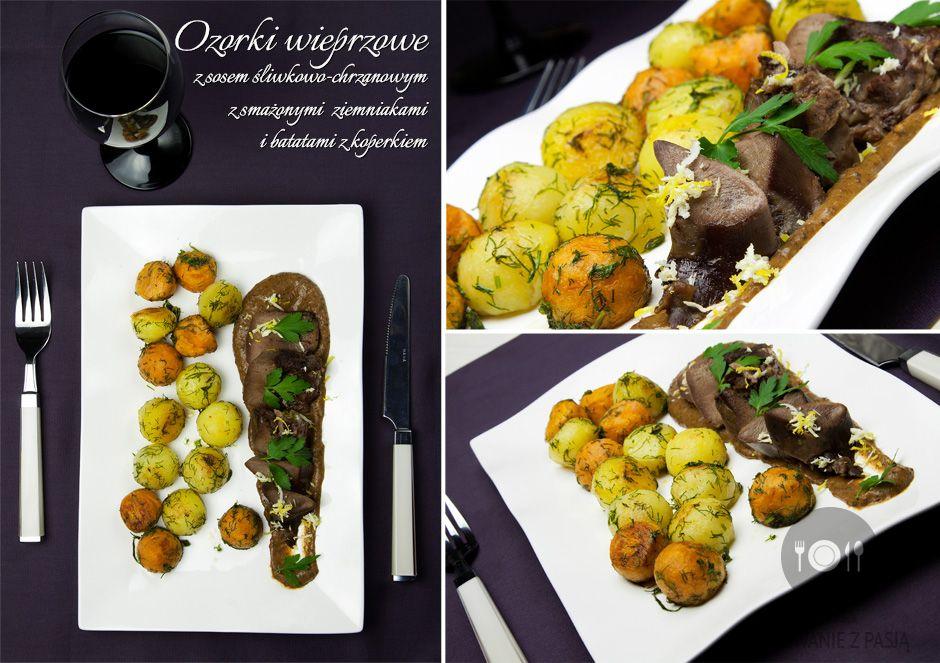 Ozorki wieprzowe z sosem śliwkowo-chrzanowym z smażonymi ziemniakami i batatami z koperkiem