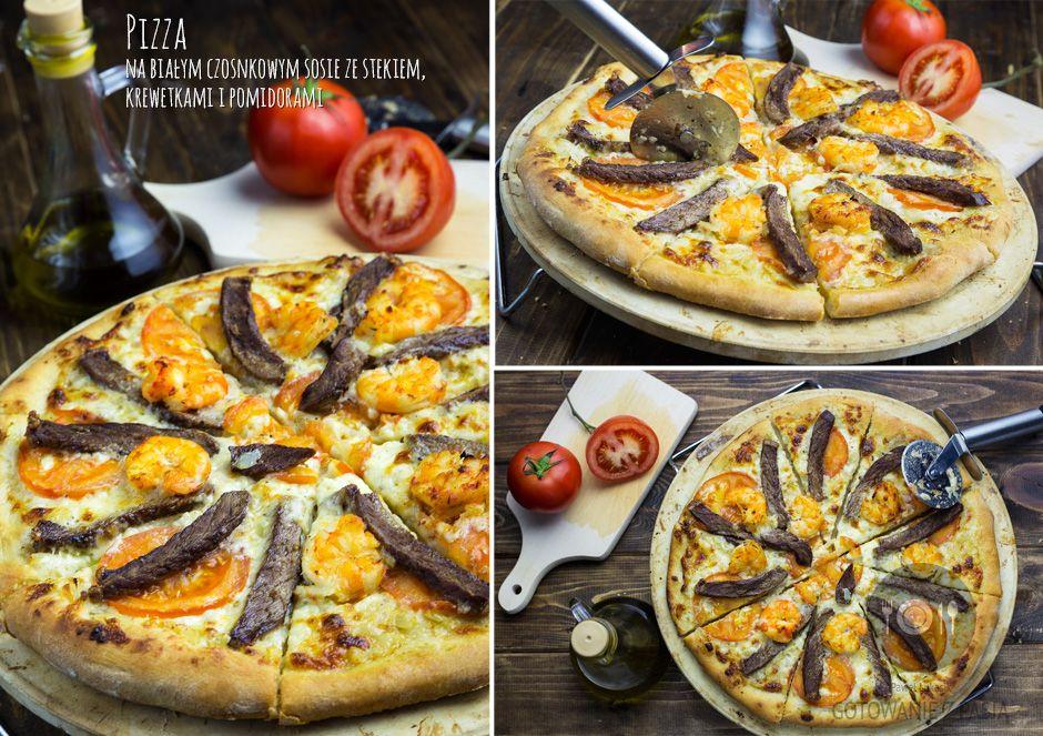 Pizza na białym czosnkowym sosie ze stekiem, krewetkami i pomidorami