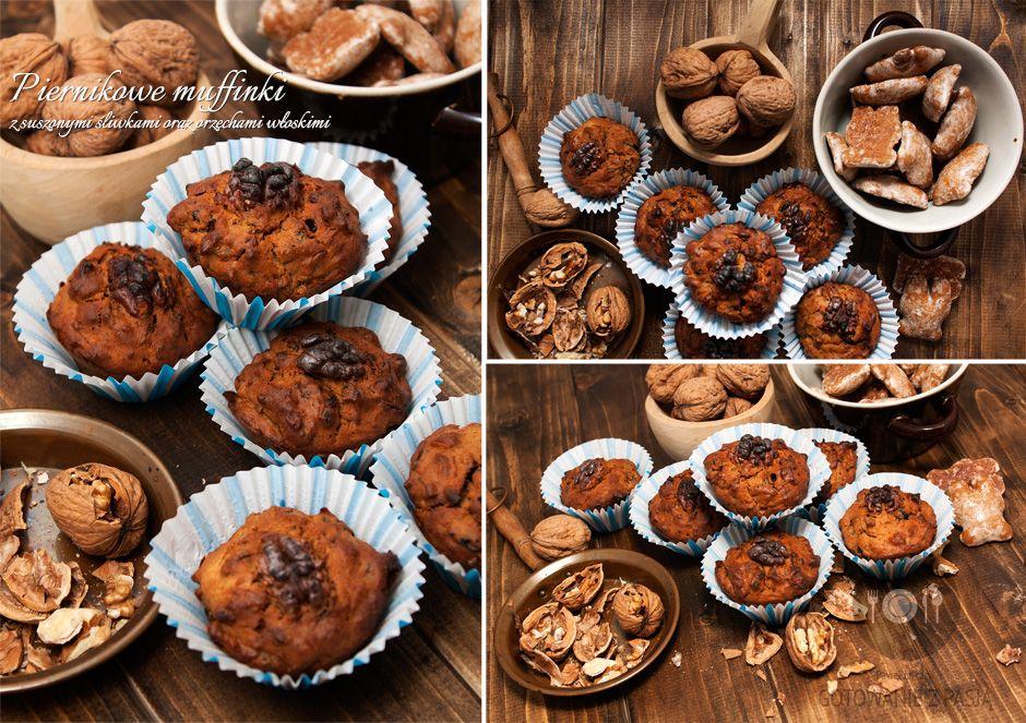 Piernikowe muffinki z suszonymi śliwkami oraz orzechami włoskimi