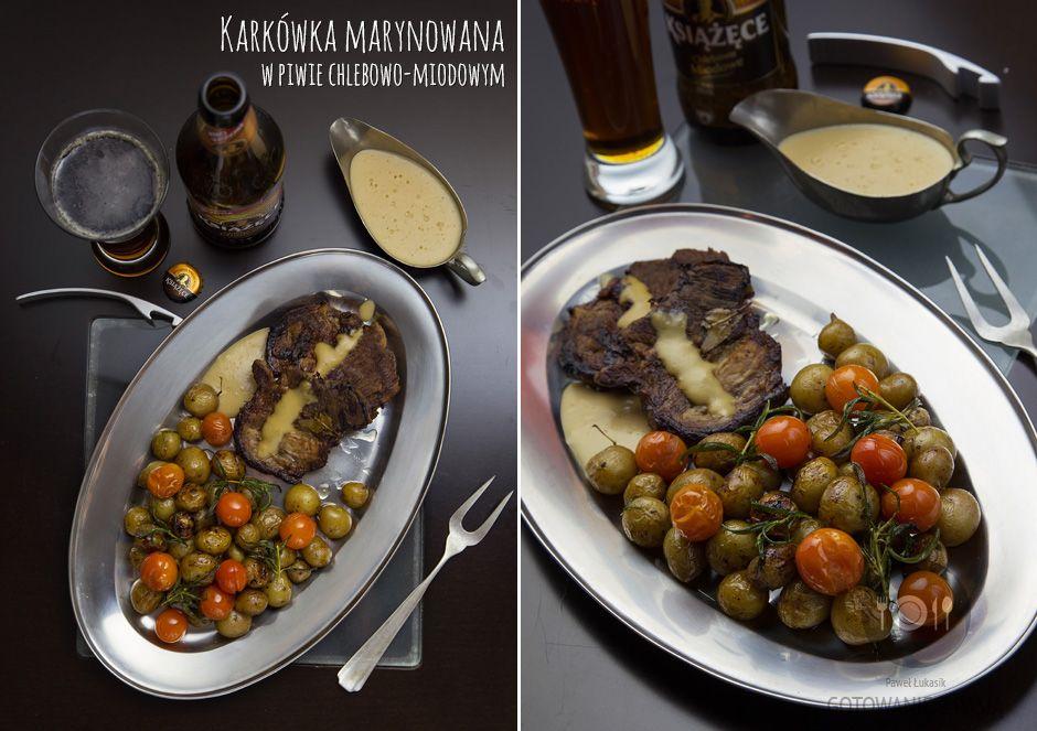 Karkówka marynowana w piwie chlebowo-miodowym z pieczonymi mini-ziemniaczkami oraz pomidorkami koktajlowymi w maśle rozmarynowym z dodatkiem sosu piwnego