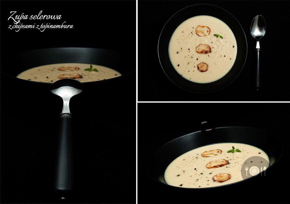 Zupa selerowa z chipsami z topinambura