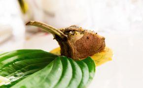 Jagnięcina smarowana tymiankiem, rozmarynem i odrobiną czosnku, smardze, kalarepa z cytryną, sos miętowo-jabłkowy (szara reneta) na cydrze z płatkami róży, podane na liściu funkii
