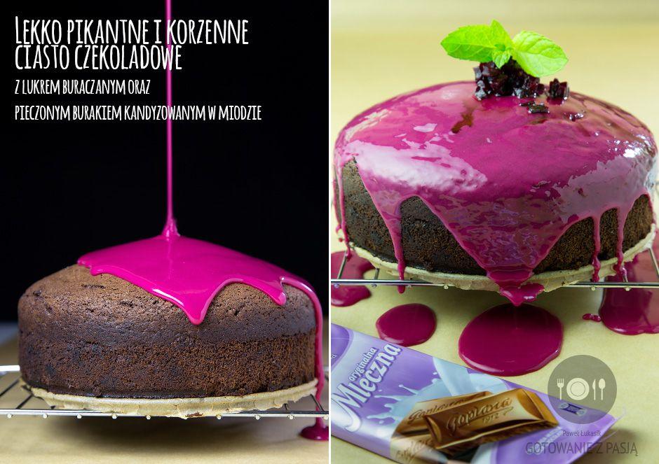 Lekko pikantne i korzenne ciasto czekoladowe z lukrem buraczanym oraz pieczonym burakiem kandyzowanym w miodzie