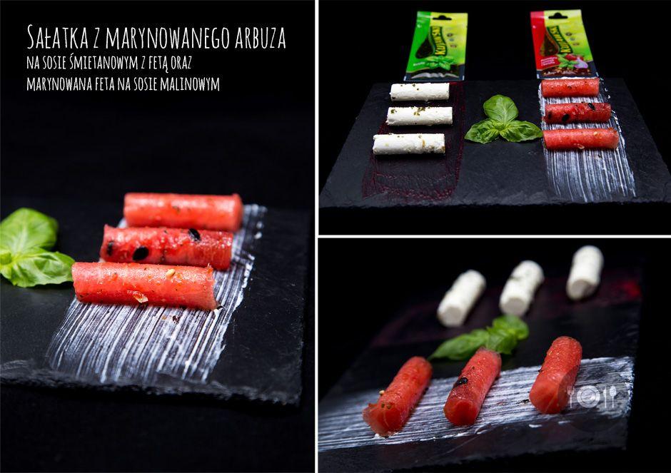 Sałatka z marynowanego arbuza na sosie śmietanowym z fetą oraz  marynowana feta na sosie malinowym