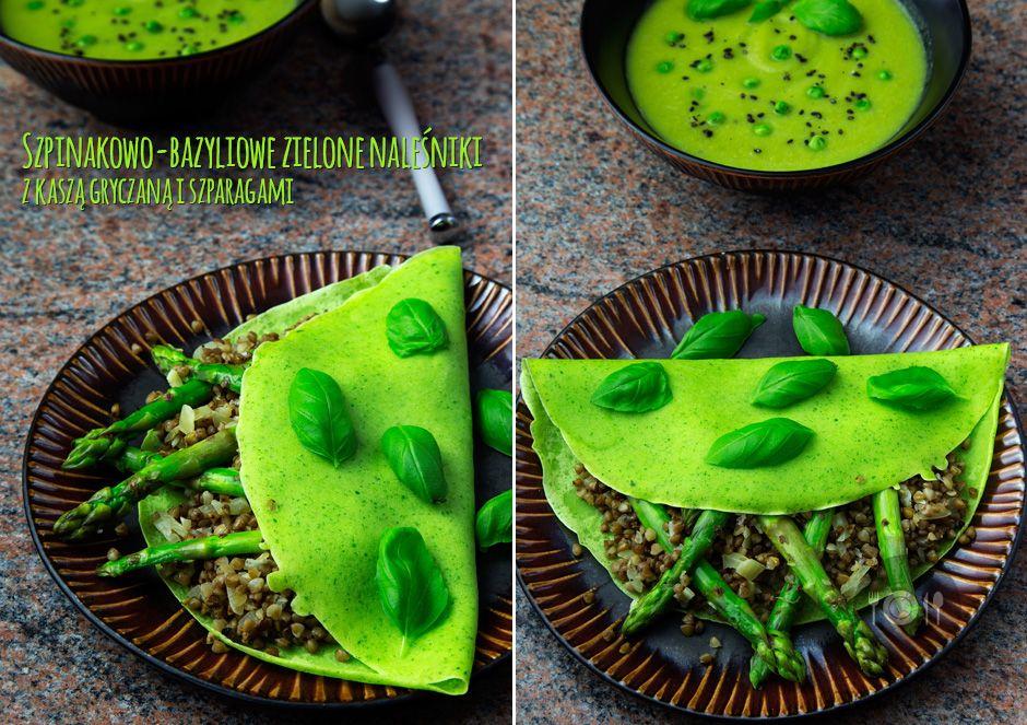 Szpinakowo-bazyliowe zielone naleśniki z kaszą gryczaną i szparagami