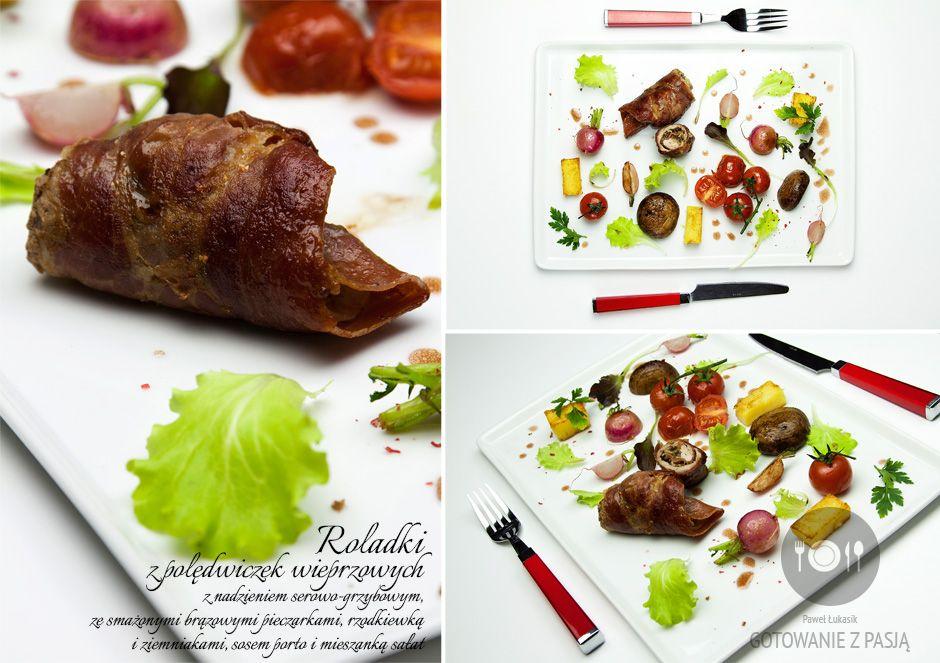 Roladki z polędwiczek wieprzowych z nadzieniem serowo-grzybowym, ze smażonymi brązowymi pieczarkami, rzodkiewką i ziemniakami, sosem porto i mieszanką sałat