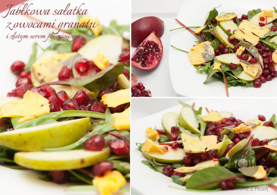 Jabłkowa sałatka z owocami granatu i złotym serem pleśniowym