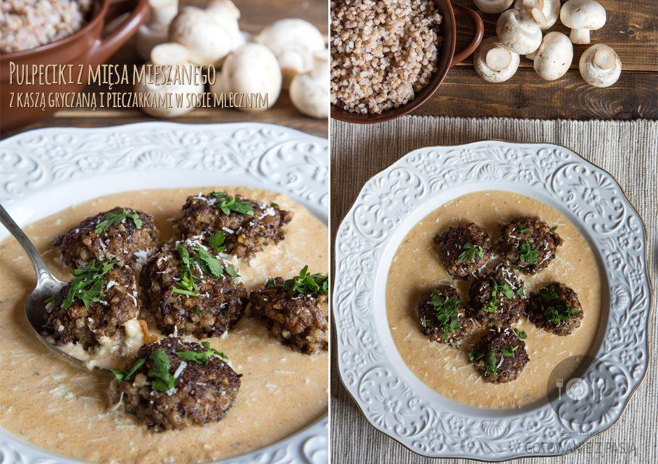 Pulpeciki z mięsa mieszanego z kaszą gryczaną i pieczarkami w sosie mlecznym