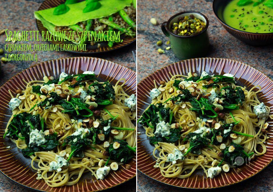 Spaghetti razowe ze szpinakiem, czosnkiem, orzechami laskowymi i gorgonzolą