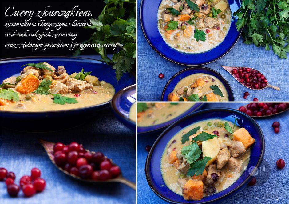 Curry z kurczakiem, ziemniakiem klasycznym i batatem w dwóch rodzajach  żurawiny oraz z zielonym groszkiem i przyprawą curry
