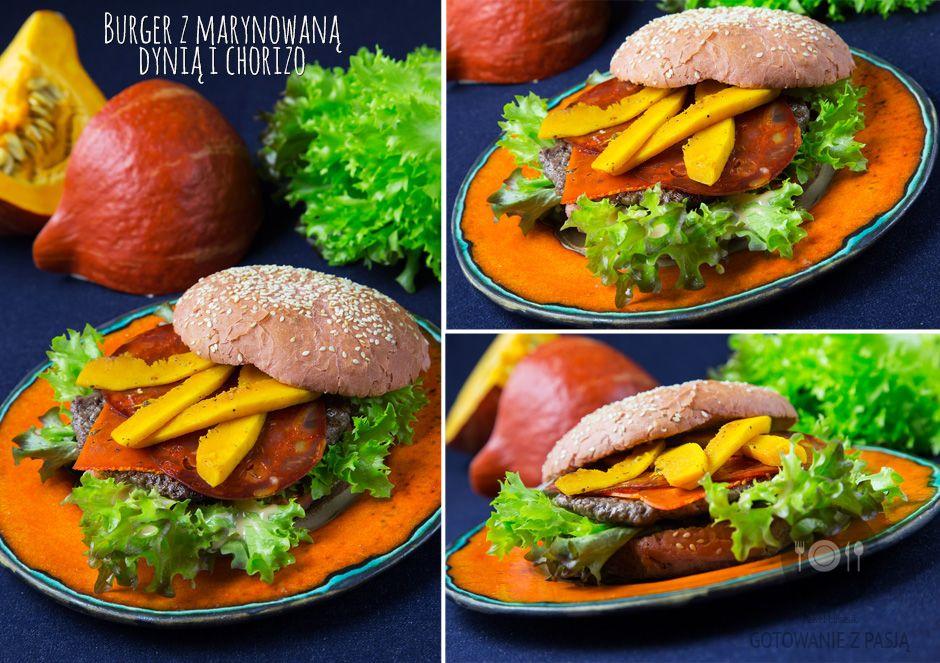 Burger z marynowaną dynią i chorizo