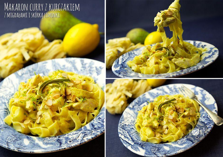 Makaron curry z kurczakiem z migdałami i skórką limonki