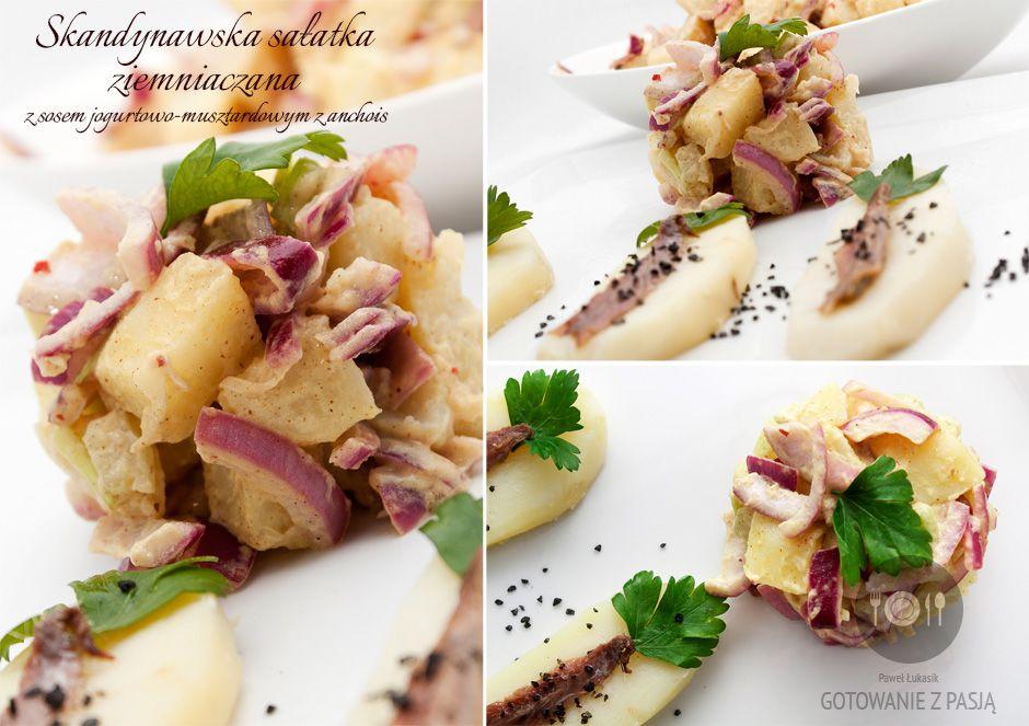Skandynawska sałatka ziemniaczana z sosem jogurtowo-musztardowym z anchois