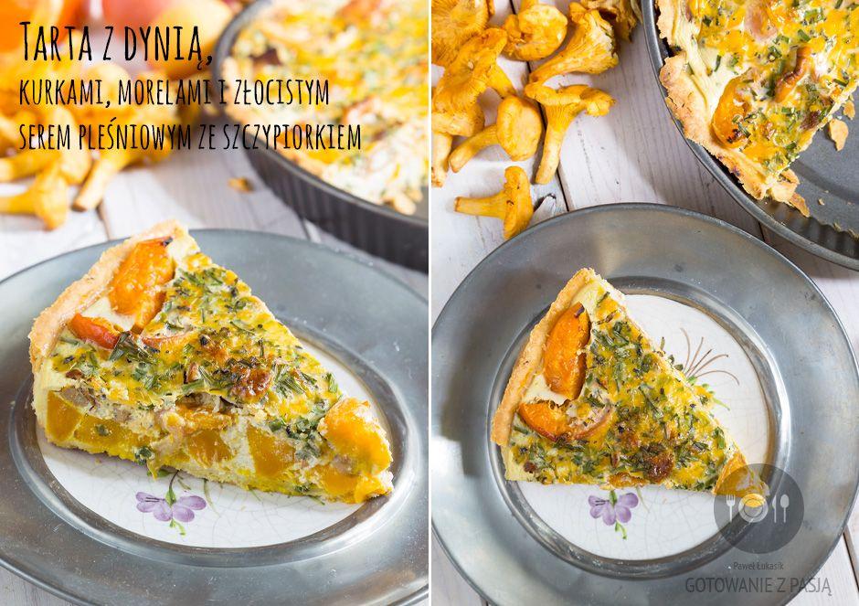 Tarta z dynią, kurkami, morelami i złocistym serem pleśniowym ze szczypiorkiem