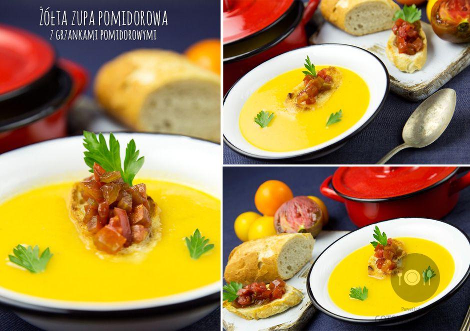 Żółta zupa pomidorowa z grzankami pomidorowymi