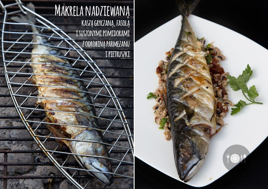 Makrela nadziewaną kaszą gryczaną, fasolą i suszonymi pomidorami z odrobiną parmezanu i pietruszki