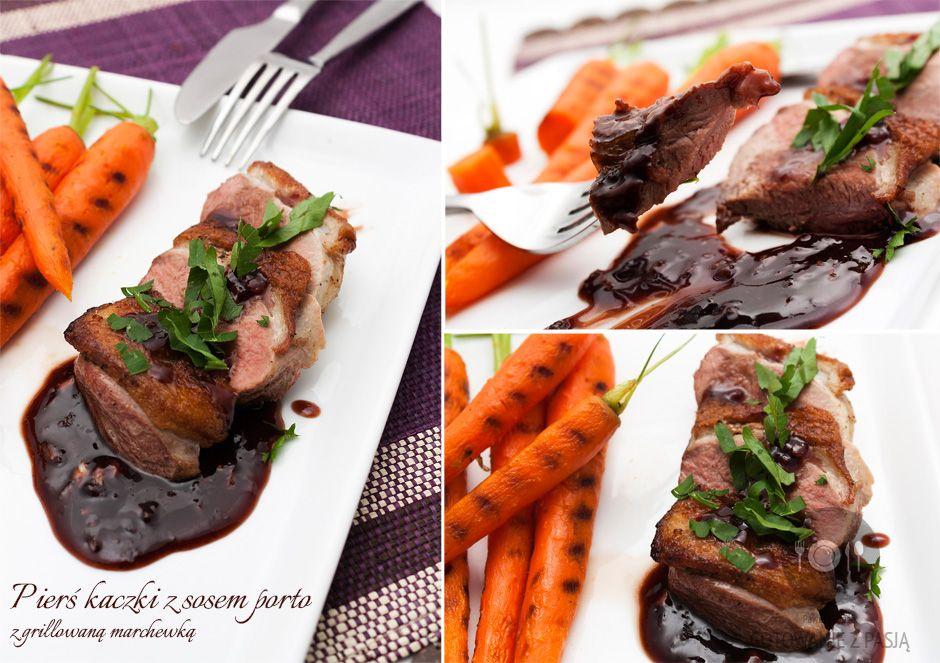 Pierś kaczki z sosem porto z grillowaną marchewką
