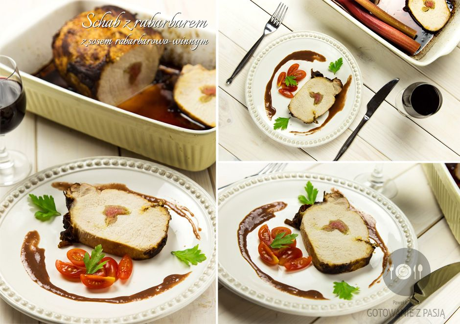 Schab nadziewany rabarbarem z sosem rabarbarowo-winnym na miodzie  gryczanym