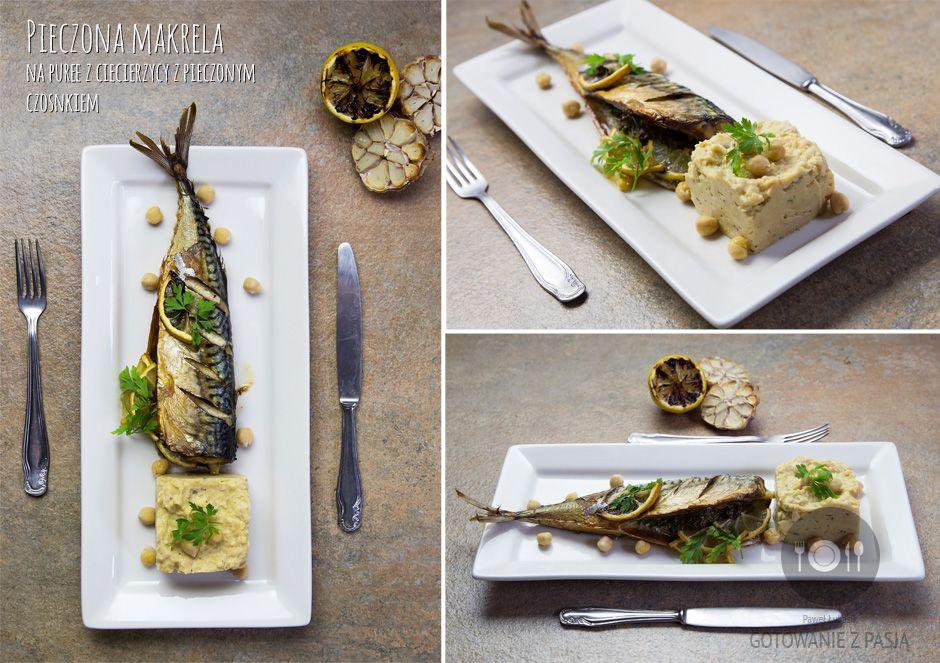 Pieczona makrela na puree z ciecierzycy z pieczonym czosnkiem