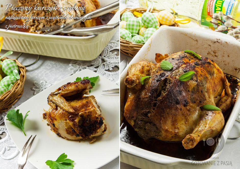Pieczony kurczak z szałwią nadziewany farszem z wątróbek drobiowych z pietruszką
