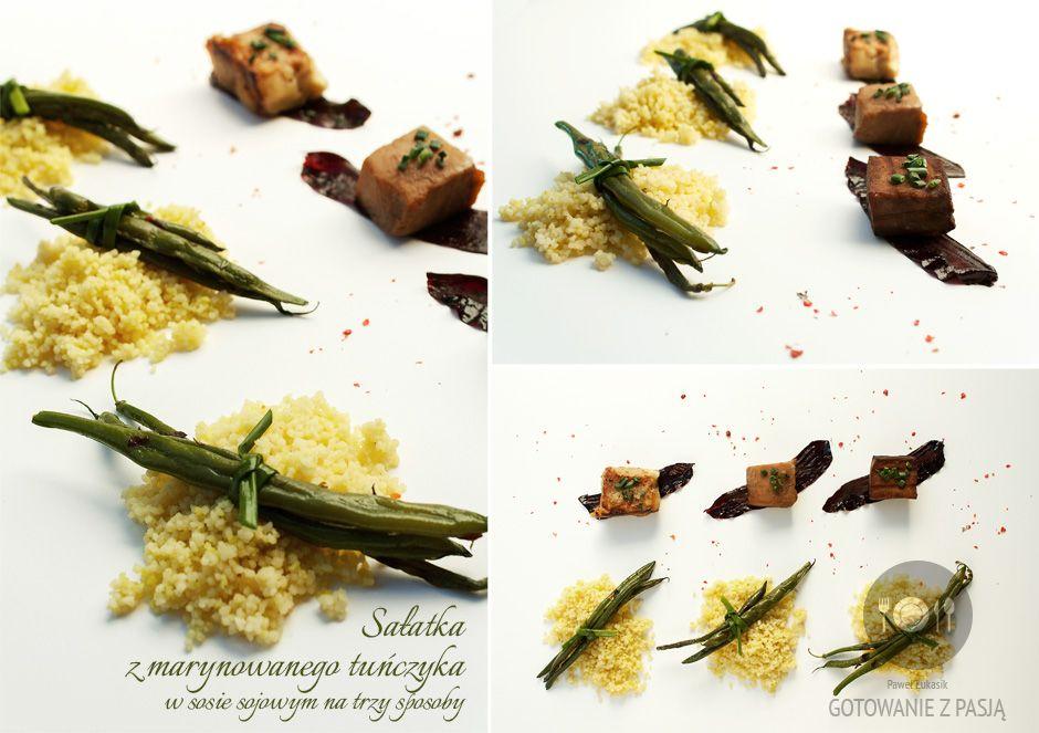 Sałatka z marynowanego tuńczyka w sosie sojowym na trzy sposoby...