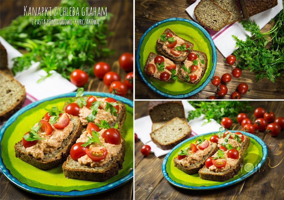 Kanapki z chleba graham z pastą pomidorowo-kurczakową