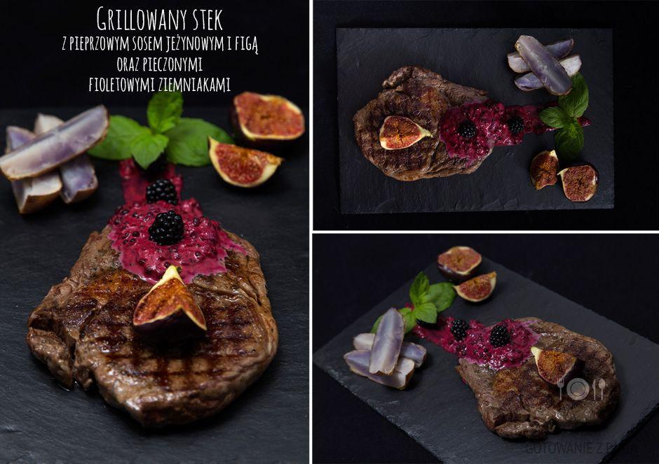 Grillowany stek z pieprzowym sosem jeżynowym i figą oraz pieczonymi fioletowymi ziemniakami