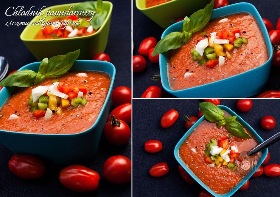 Chłodnik pomidorowy z trzema rodzajami papryk