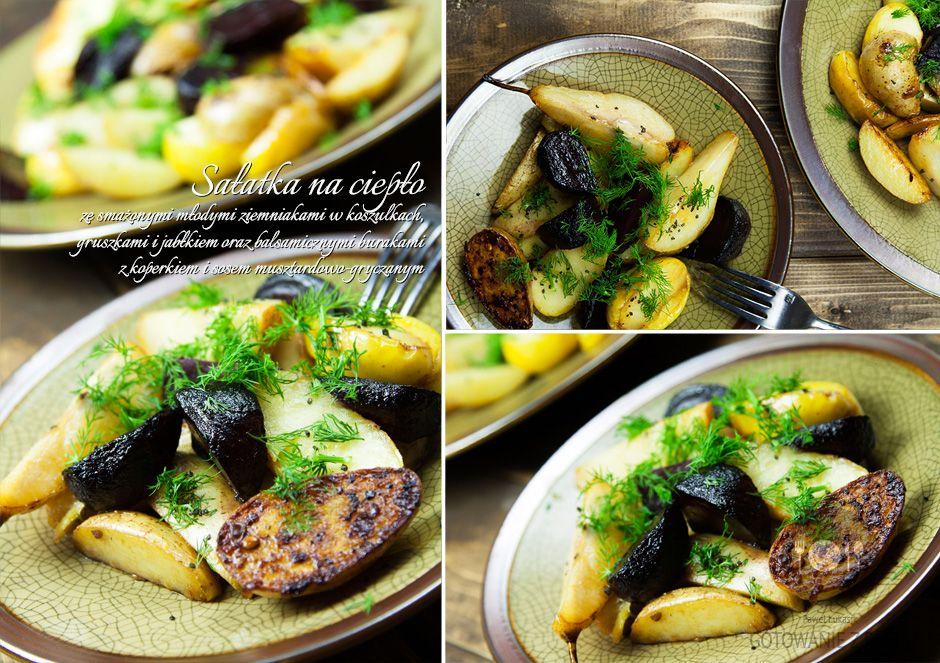 Sałatka na ciepło ze smażonymi młodymi ziemniakami w koszulkach,  gruszkami i jabłkiem oraz balsamicznymi burakami z koperkiem i sosem  musztardowo-gryczanym