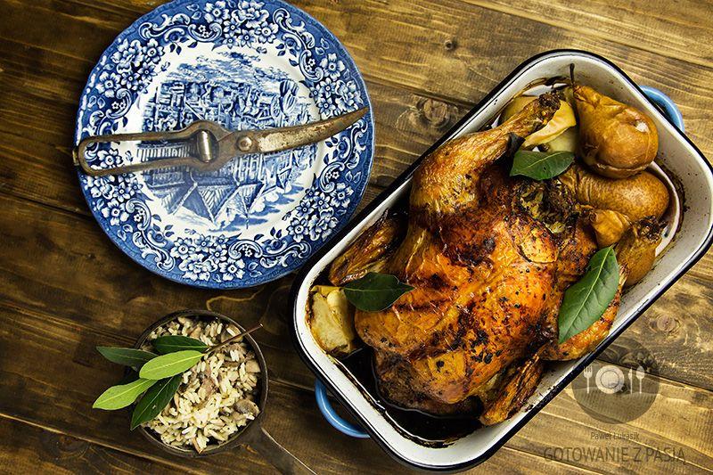 Pieczony Kurczak Z Nadzieniem Ryzowym Z Watrobka Drobiowa I